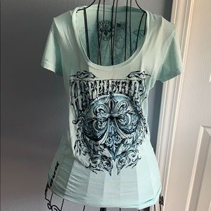 Affliction women's t shirt mint and navy